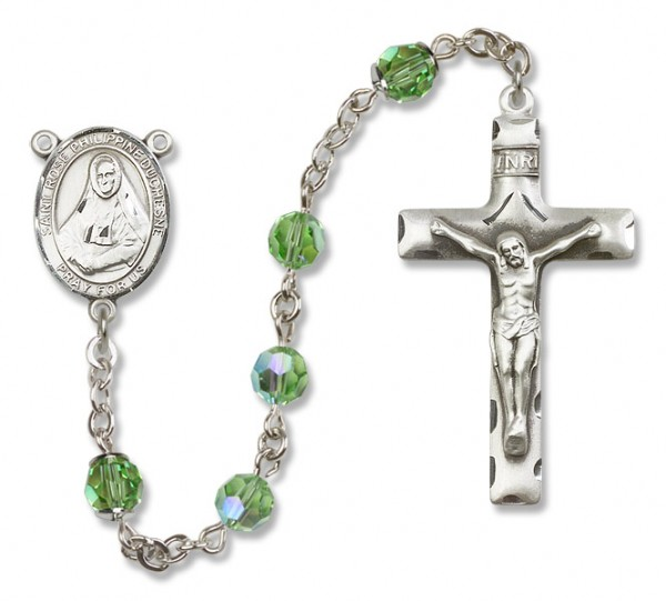 St. Rose Philippine Sterling Silver Heirloom Rosary Squared Crucifix - Peridot