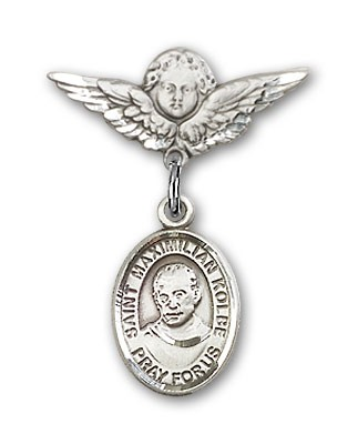 Pin Badge with St. Maximilian Kolbe Charm and Angel with Smaller Wings Badge Pin - Silver tone