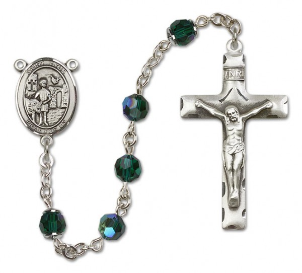 St. Vitus Sterling Silver Heirloom Rosary Squared Crucifix - Emerald Green