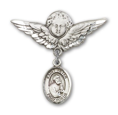 Pin Badge with St. Peter the Apostle Charm and Angel with Larger Wings Badge Pin - Silver tone