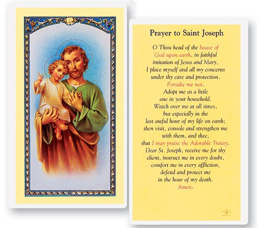 Prayer To St. Joseph Laminated Prayer Cards 25 Pack - Full Color
