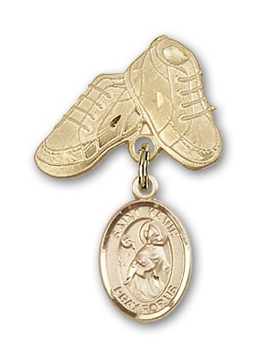Pin Badge with St. Kevin Charm and Baby Boots Pin - Gold Tone