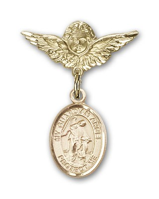 Pin Badge with Guardian Angel Charm and Angel with Smaller Wings Badge Pin - 14K Yellow Gold