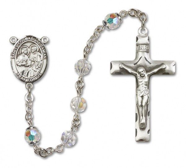 Saints Cosmas and Damian Sterling Silver Heirloom Rosary Squared Crucifix - Crystal