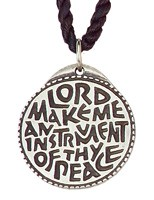Round Lord Make Me an Instrument of Your Peace Pendant - Silver