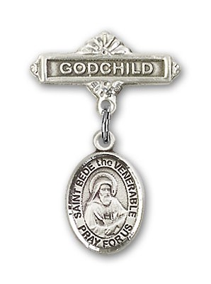 Pin Badge with St. Bede the Venerable Charm and Godchild Badge Pin - Silver tone