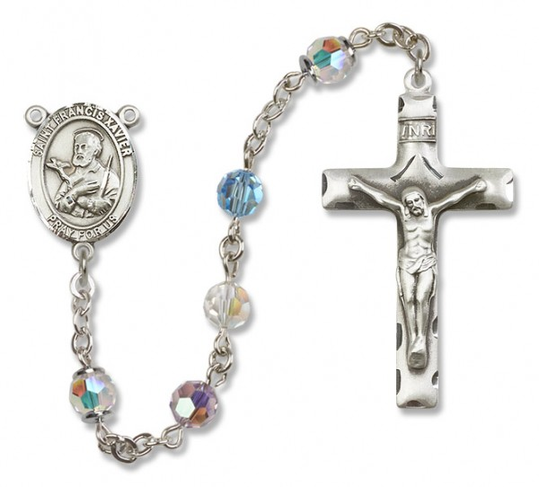 St. Francis Xavier Sterling Silver Heirloom Rosary Squared Crucifix - Multi-Color