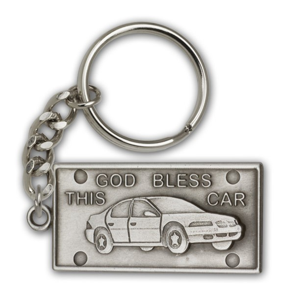 God Bless This Car Keychain - Antique Silver