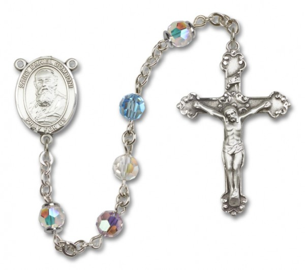 St. Daniel Comboni Sterling Silver Heirloom Rosary Fancy Crucifix - Multi-Color