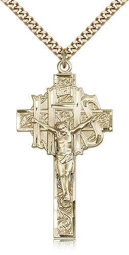 Men's Large IHS Crucifix Pendant - 14KT Gold Filled