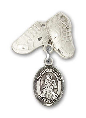 Pin Badge with St. Isaiah Charm and Baby Boots Pin - Silver tone
