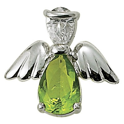 Angel Pin- August Birthstone - Silver