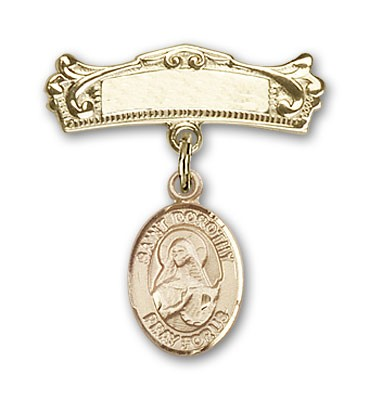 Pin Badge with St. Dorothy Charm and Arched Polished Engravable Badge Pin - Gold Tone