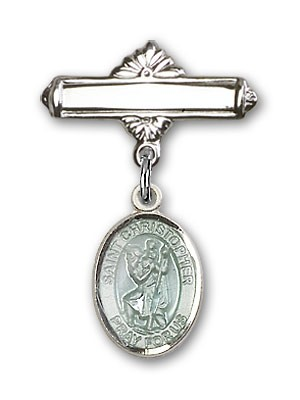 Pin Badge with St. Christopher Charm and Polished Engravable Badge Pin - Silver | Blue