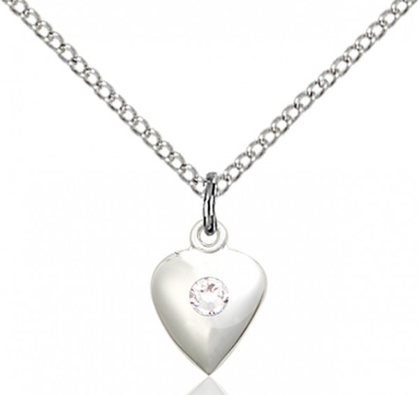 Baby Heart Pendant with Birthstone Options - Crystal