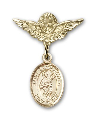 Pin Badge with St. Scholastica Charm and Angel with Smaller Wings Badge Pin - 14K Yellow Gold