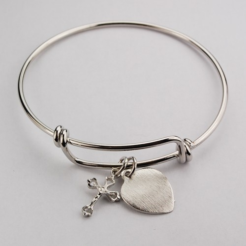 Girl's Crucifix Bangle Bracelet Engravable Heart Charm - Silver