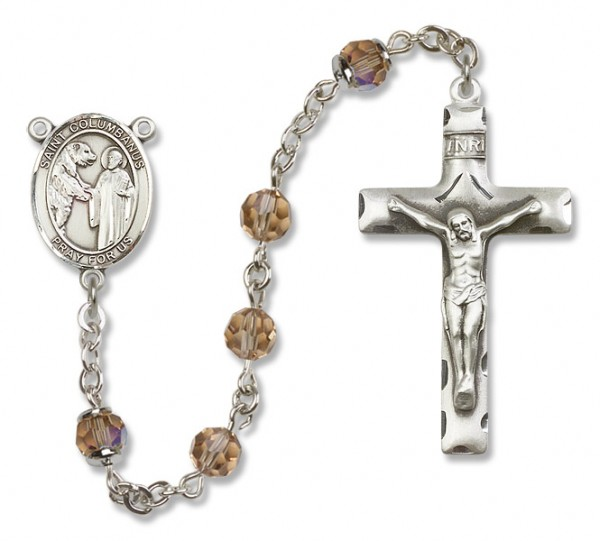 St. Columbanus Sterling Silver Heirloom Rosary Squared Crucifix - Topaz