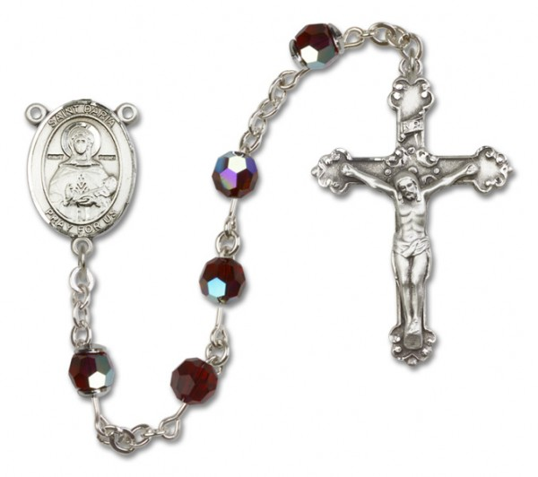 St. Daria  Sterling Silver Heirloom Rosary Fancy Crucifix - Garnet