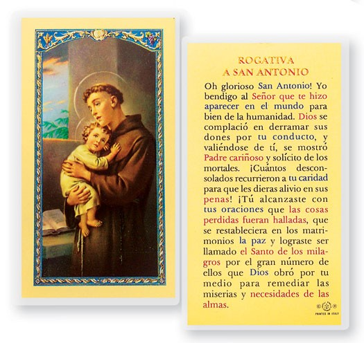 Rogativa A San Antonio Laminated Spanish Prayer Cards 25 Pack - Full Color
