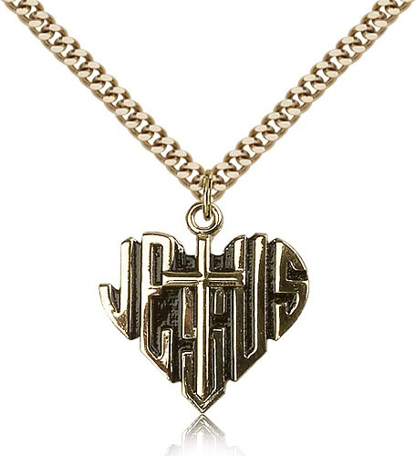 Heart of Jesus and Cross Pendant - 14KT Gold Filled