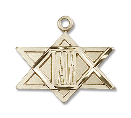 I Am Star of David Pendant - 14K Solid Gold