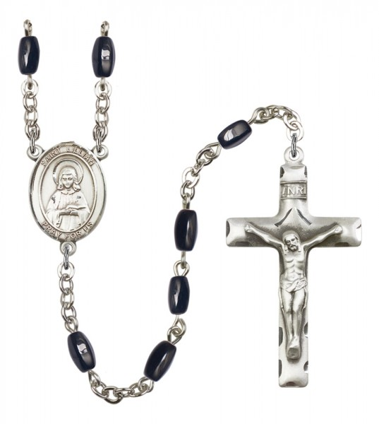 Men's St. Lillian Silver Plated Rosary - Black | Silver