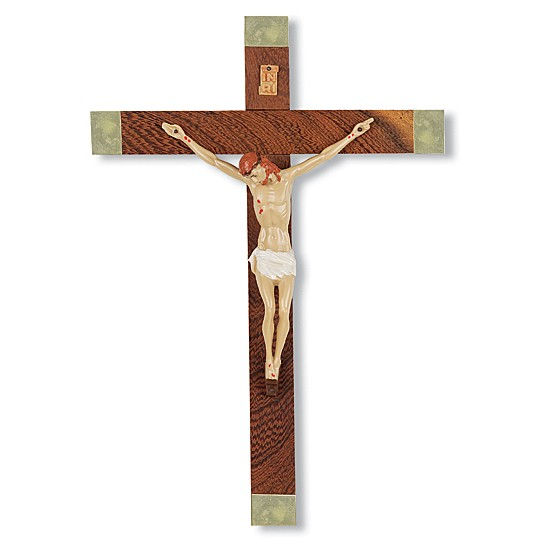 Italian Wood Crucifix with Brass Tips- 10 inch - Brown