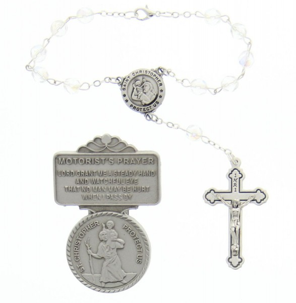 St. Christopher Matching Auto Rosary and Visor Clip Set, 7mm glass beads - Silver