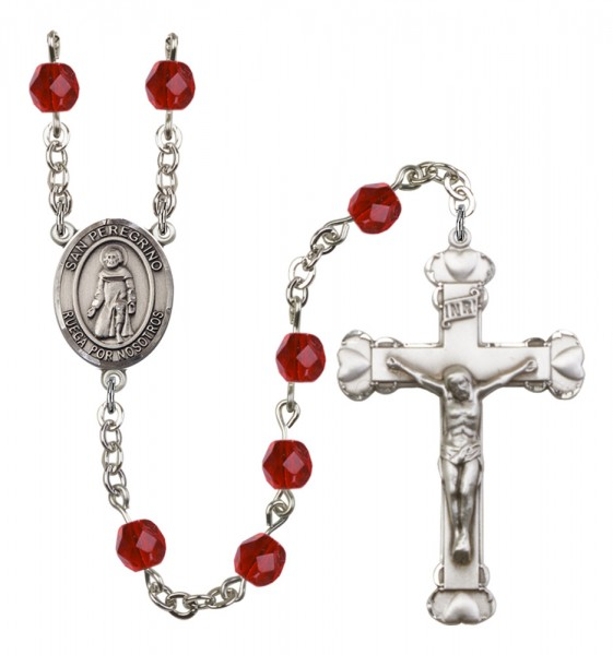 Women's San Peregrino Birthstone Rosary - Ruby Red