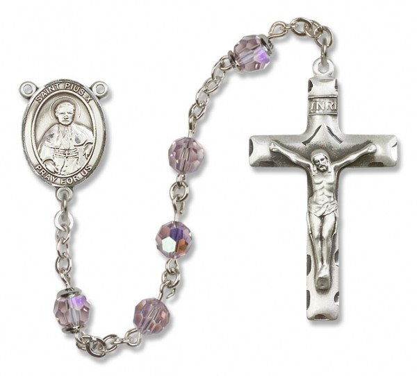 St. Pius X Sterling Silver Heirloom Rosary Squared Crucifix - Light Amethyst