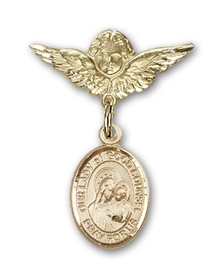 Pin Badge with Our Lady of Good Counsel Charm and Angel with Smaller Wings Badge Pin - 14K Yellow Gold