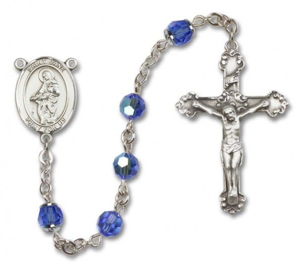 St. Jane Frances de Chantal Sterling Silver Sterling Silver Heirloom Rosary Fancy Crucifix - Sapphire