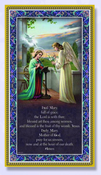 Hail Mary Italian Prayer Plaque - Multi-Color