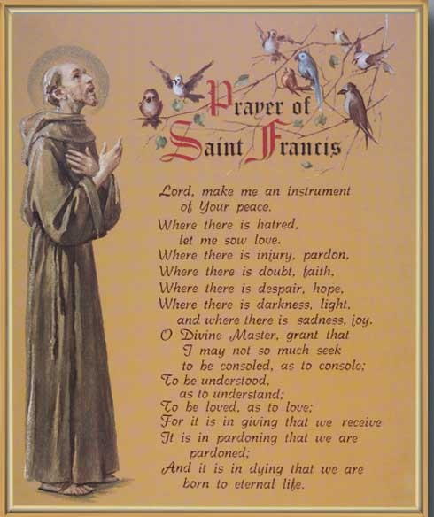 picture about St Francis Prayer Printable named Prayer of St. Francis Gold Framed Print