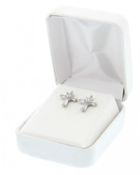 Crystal Cross Earrings - Crystal