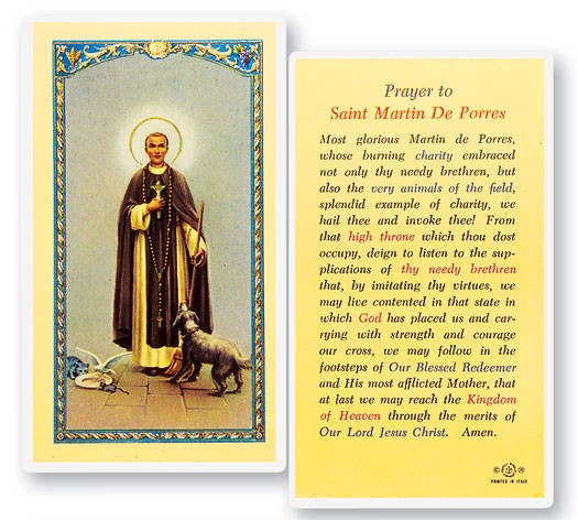 St. Martin De Porres Laminated Prayer Cards 25 Pack - Full Color
