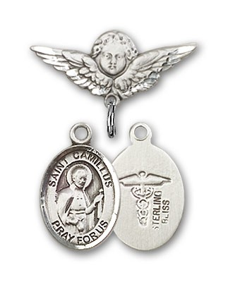 Pin Badge with St. Camillus of Lellis Charm and Angel with Smaller Wings Badge Pin - Silver tone