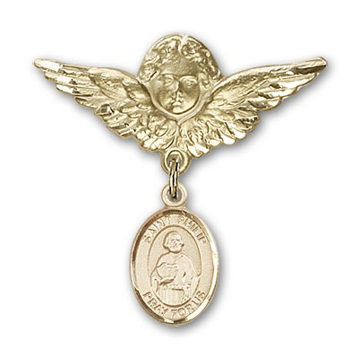 Pin Badge with St. Philip the Apostle Charm and Angel with Larger Wings Badge Pin - Gold Tone