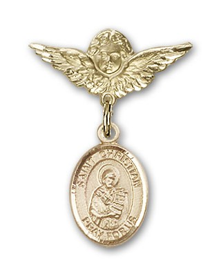 Pin Badge with St. Christian Demosthenes Charm and Angel with Smaller Wings Badge Pin - 14K Yellow Gold
