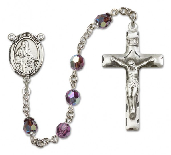 St. Veronica Sterling Silver Heirloom Rosary Squared Crucifix - Amethyst
