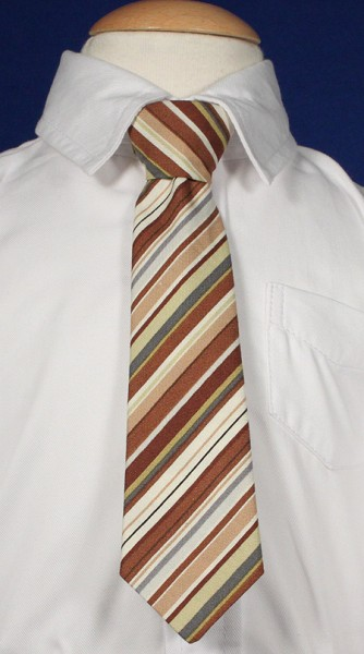 Boys Brown Striped Tie - Brown