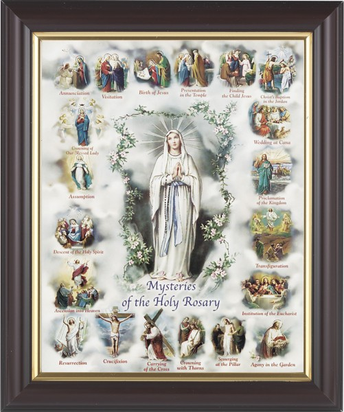 Mysteries of the Holy Rosary Illustrated Framed Print - #133 Frame