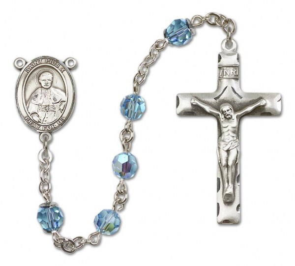 St. Pius X Sterling Silver Heirloom Rosary Squared Crucifix - Aqua