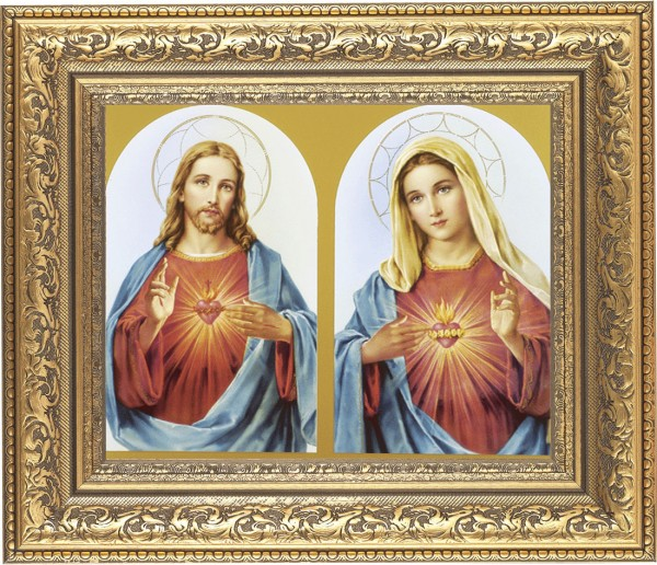 Sacred Heart of Jesus and Immaculate Heart of Mary Framed Print - #115 Frame