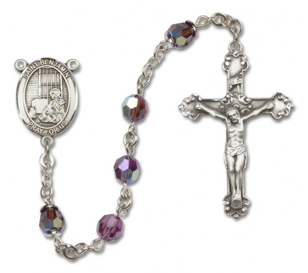 St. Benjamin Sterling Silver Heirloom Rosary Fancy Crucifix - Amethyst