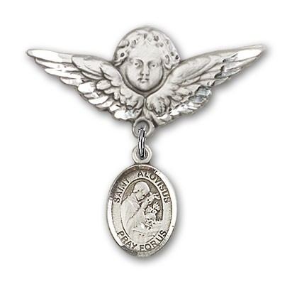 Pin Badge with St. Aloysius Gonzaga Charm and Angel with Larger Wings Badge Pin - Silver tone
