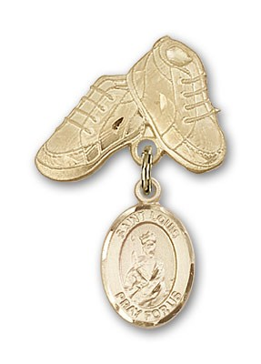 Pin Badge with St. Louis Charm and Baby Boots Pin - 14K Yellow Gold