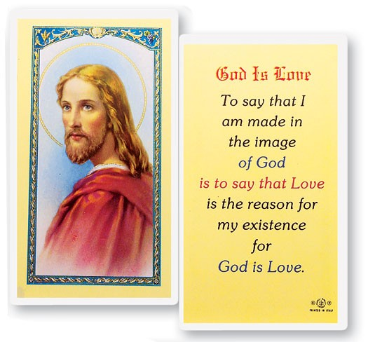 God Is Love Head of Christ Laminated Prayer Cards 25 Pack - Full Color