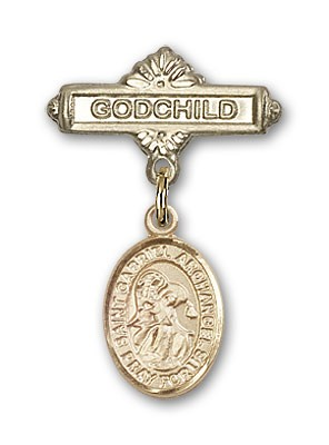 Pin Badge with St. Gabriel the Archangel Charm and Godchild Badge Pin - Gold Tone